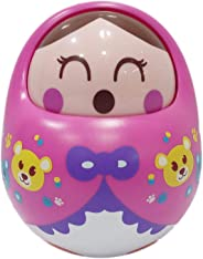 Popsugar Push and Shake Tumbler Doll with Happy Face and Sounds Toy for Kids, Pink
