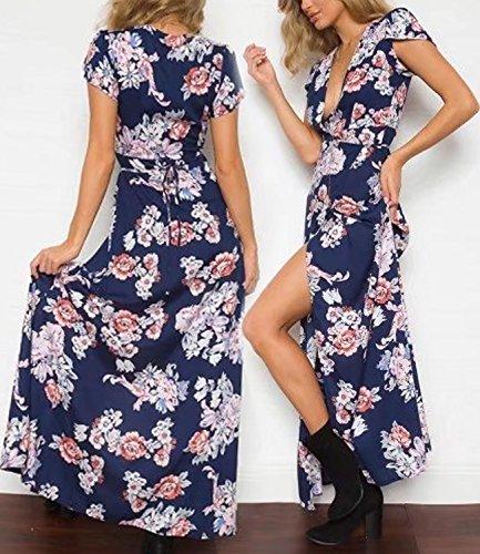 Futurino Damen Blumendruck V-Ausschnitt Maxi Strand Kleid Blau ...