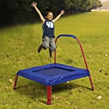 Costway Kids Mini Toys Fun Trampoline Children junior Active Exercise Sporting Bouncer Indoor Outdoor W/ Handle Two Colors - Blue/Red (Blue)