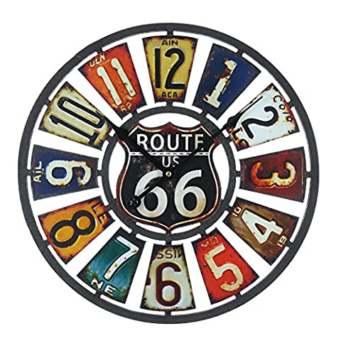 Hometime The Route 66 Wall Clock Cut Out Metal USA Plates Arabic 40cm