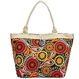 CASPAR TS1032 große XL Damen Strandtasche/Shopper mit buntem Ethno Blumen Muster, Farbe:multicolor braun;Größe:One Size