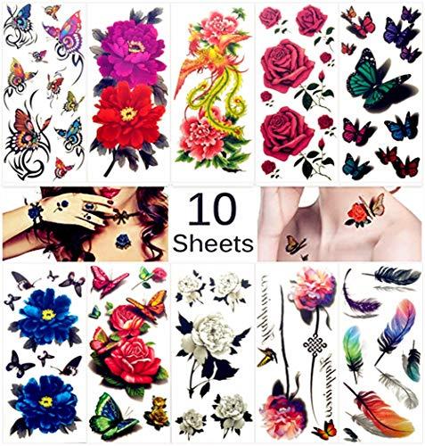 Temporäre Tattoos für Erwachsene Männer Frauen Kinder (10 Blätter), Wasserdicht Temporäre Tätowierung Floral Fake Tattoos Body Art Aufkleber Cover Up Set (Phönix + Blumen + Federn)