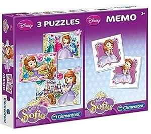 Sofía La Primera - Set de Puzzle Multiple, 2 x 20 Piezas y Puzzle de 60 Piezas con Juego Memo (Clementoni 7807)