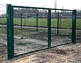 Einfahrtstor 2-flügelig / Grün beschichtet / Einbaubreite: 500cm - Einbauhöhe: 180cm - Inklusive 2 Pfosten (60mm x 60mm) / Mattentor Industrietor