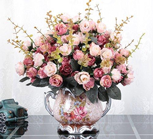 Jnseaol fiori artificiali fiori artificiali fiori finti fai da te soggiorno camera da letto festa di nozze cucina decorazione della casa vaso di ceramica decorazione fiore rosa -53