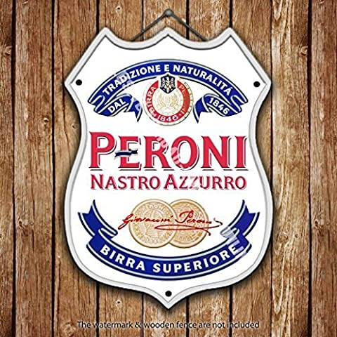 Peroni Label. Nastro Azzurro. Lager. Beer Advertising Bar Old Pub Drink Pump Badge Brewery Cask Keg Draught Real Ale Pint Alcohol Hops Shield Shape Metal/Steel Wall