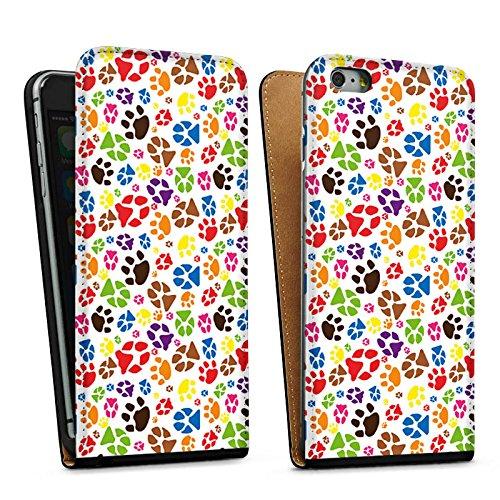 Apple iPhone 6 Housse Étui Silicone Coque Protection Pattes couleur Chien Animaux domestiques Sac Downflip noir