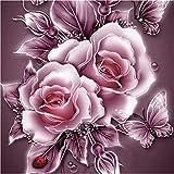 5D Stickerei Gemälde Strass eingefügt DIY Diamant Malerei Kreuzstich 3D Mit Steinen Katze Full Vollbild Diamond Groß Bild Kinder Rose Blumen (25*25cm, A)