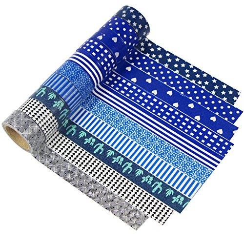 uooom 10diferentes patrones Washi azul y negro rollos de cinta decoración de cinta adhesiva para Scrapbooking DIY Craft regalo decorativo Design 9048