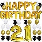 KUNGYO Happy Birthday Buchstaben ballons +Nummer 21 Mylarfolie Ballon + 24 Stück Schwarzes Gold Weiß Luftballons -Perfekte 21 Jahre alte Geburtstagsfeier Dekoration Lieferungen