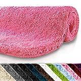 Badematte | kuscheliger Hochflor | rutschfester Badvorleger | viele Größen | zum Set kombinierbar | Öko-Tex 100 zertifiziert | 50x80 cm | Misty Rose (rosa)