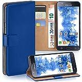 moex Samsung Galaxy J5 (2015) | Hülle Blau mit Karten-Fach 360° Book Klapp-Hülle Handytasche Kunst-Leder Handyhülle für Samsung Galaxy J5 2015 Case Flip Cover Schutzhülle Tasche