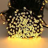 Quntis 40M Guirlande Lumineuse 300 LED Piles 4*AA Lumière Blanc Chaud 8 Modes Décoration Intérieur Nouvel An pour Jardin Maison Arbre de Noël Fête Mariage