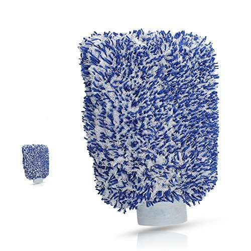 Premium Auto waschen Handschuh Made für Auto Reinigung und Auto Behandlung Auto Schwamm (blau | weiß)