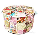 EYES OF INDIA - 22 X 12' weiß Patchwork Rund Pouf Pouffe Ottomane Deckel Boden Sitz Unkonventionell Boho Indian - Weiß #25, 22 X 12 in. (55 X 30 cm)