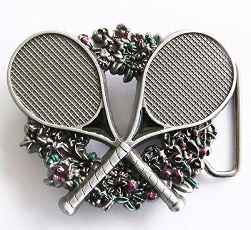 Napolo Cinturon de Hebilla Western Vintage Buckle Hombre Raqueta de Tenis ofrenda Floral