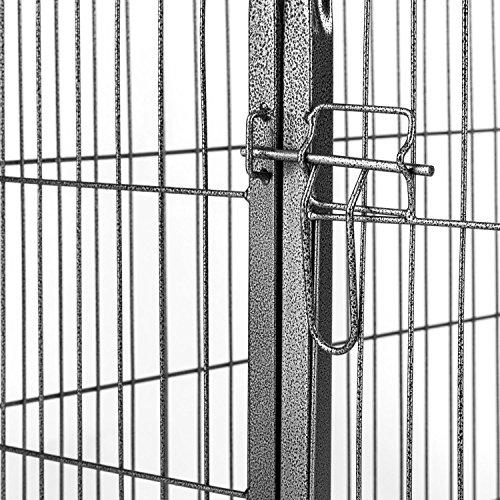 oneConcept Fort Struppi Welpengehege Freilauf Laufstall (max. 1m² Fläche, 125 x 85 cm, Tür, stabiler Stahlrohrrahmen) silber - 4
