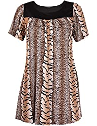 Womens Plus Size Floral Print Ladies Short Sleeve Ruched Gathered Neckline Smock Top Dress