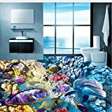 Lifme Benutzerdefinierte 3D Mural Dolphins Tropische Korallen Badezimmer Schlafzimmer Hintergrund 3D Bodenaufkleber Pvc Selbstklebende Boden Tapete Für Wand-120X100Cm