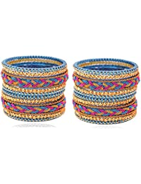 9 Color Beautiful & Trendy Spring Design Pattern Glass Bangle Set For Women & Girls On Festive & Wedding Occasions