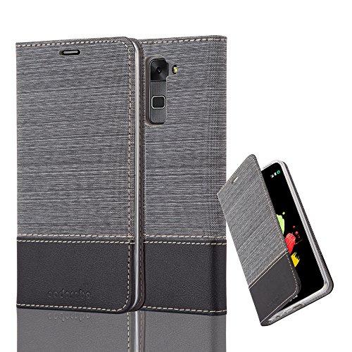 Cadorabo Hülle für LG Stylus 2 - Hülle in GRAU SCHWARZ – Handyhülle mit Standfunktion und Kartenfach im Stoff Design - Case Cover Schutzhülle Etui Tasche Book