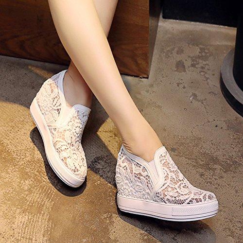 Sfsyddy- Dans Printemps Et Automne 7.5cm Chaussures Blanc Mesh Respirant Chaussures À Semelle Profonde Haute Talons Augmenté Chaussures De Pied 39 Trente-neuf