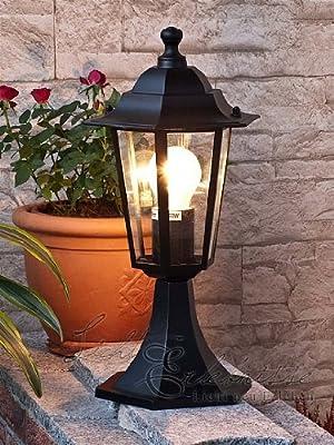 Schwarze Aluguss Sockelleuchte Weglampe Gartenbeleuchtung