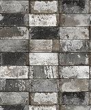 Vlies Tapete Stein Fliesen Riemchen Klinker schwarz grau silber metallic verwittert NF232024