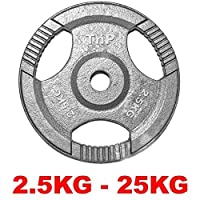 "TNP Accessories® Cast Iron Standard 1"" Radial TRI-GRIP Hammertone Disc Weight Plates EZ Bar Curl Barbell Dumbbell Weight Plate Fitness Gym 2.5kg to 25kg Weights Set (10KG x 2)"