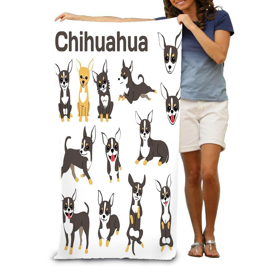 zexuandiy Bath Towel Cool Soft Beach Towel 31″x 51″ Towel chihuahua dog action happy dog chihuahua dog poses dog breed