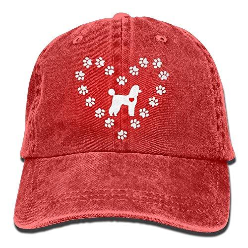 Sdltkhy Poodle Dog Heart-1 Vintage Denim Baseball Cap Adjustable Plain Cap Unisex ()