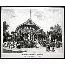 Die Trinkhalle in den Coblenzer Rheinanlagen - Koblenz Trinkhalle Rheinanlage Ansicht Holzstich antique print