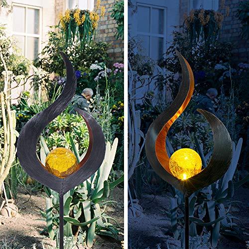 Solar Garten Lichter Outdoor Track Metall Solar Cracked Flame Glas Wasserdichte Lichter Für Rasen Terrasse Hof Warmweiß 17,5 * 9 * 80 Cm