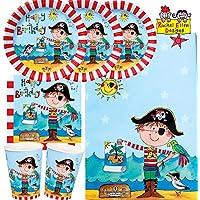 37-teiliges Party-Set Rachel Ellen Frecher Pirat - Teller Becher Servietten Tischdecke für 8 Kinder