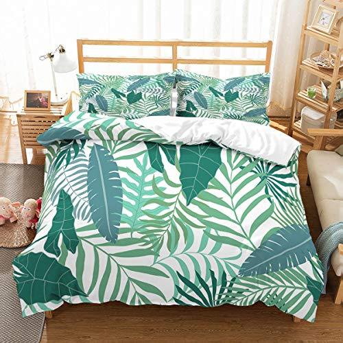 MOUMOUHOME Baum Blätter 3D Print Bettwäsche Set mit Grünen,Tropischen Pflanzen auf Weißem Bettbezug Set 3 Stück mit 1 Bettbezug 2 Kissenbezug 100% Mikrofaser,Keine Bettdecke -