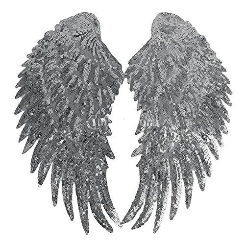 2pcs DIY alas ángel lentejuelas parches ropa cosido