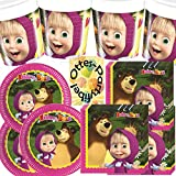 Diverse Masha and The Bear Mascha und der Bär 36tlg. Partyset 8 Teller 8 Becher 20 Servietten