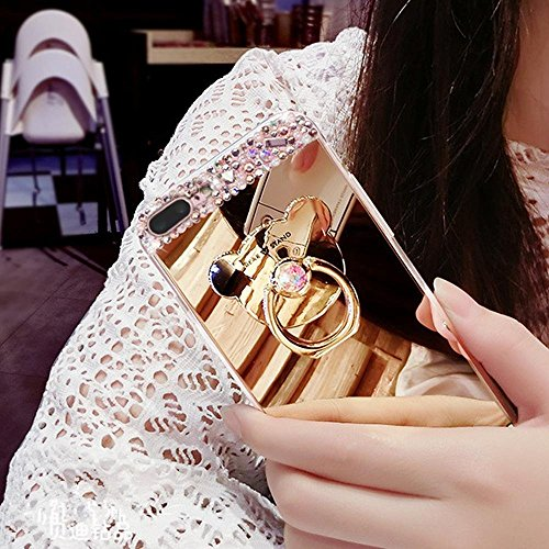 Étui iPhone 7 Plus,Coque protecteur iPhone 7 Plus,Charmant romantique Ours motif Housse iPhone 7 Plus, ETSUE [Étui miroir Diamant en cristal brillant Bling Glitter] iPhone 7 Plus Slicone Coque en caou Anneau Doré