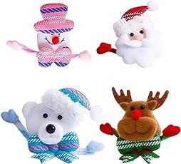 BESTOYARD Weihnachten Brosche Pins Leuchtende Glühende Abzeichen Clips Party Favors Urlaub Geburtstag Geschenke für Kinder 4 STÜCKE (Weihnachtsmann / Schneemann / Elk / Bär)