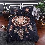 BEDSETAAA Bettwäsche Artikel Vier Stück Anzug Polyester Baumwolle 3D Digitaldruck Bettbezug Blatt Kissenbezug Dreamnet Serie 200x229cm schwarz