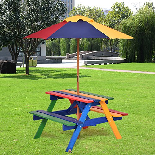 GYMAX Kids Wooden Picnic Table Bench with Parasol In Rainbow Garden BBQ Furniture Set
