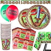 Kompanion 92 Piece Pixel Party Supplies Set Including Banner, Plates, Cups, Napkins and Tablecloth, Mining Theme - Serves 20
