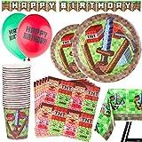 92 Piezas – Vajilla de Pixeles Desechable – Accesorio para Celebración de Fiesta de Cumpleaños - – Decoración de Pixel - Pancarta, Platos, Vasos, Servilletas, Mantel Resistente - Diseño Minecraft – 20 Invitados