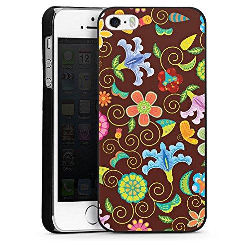 Apple iPhone 5s Housse Étui Protection Coque Rétro couleurs Fleurs CasDur noir