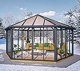 Palram Wintergarten, Pavillon, Veranda Garda grau // 596x596 cm (TxB) // Überwinterungspavillon mit 6 Türen
