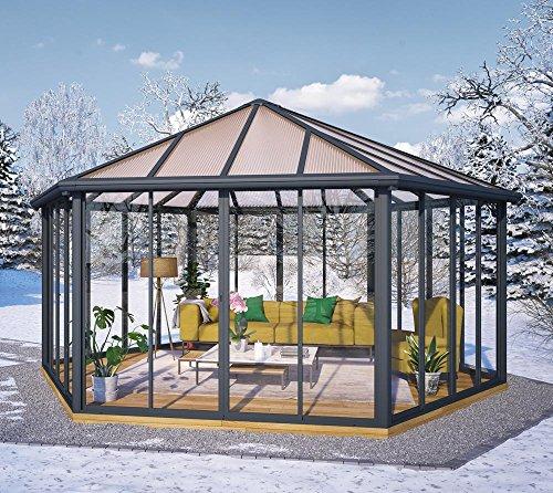 Palram Wintergarten, Pavillon, Veranda Garda grau // 596x596 cm (TxB) // Überwinterungspavillon mit...