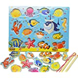 14pcs Fishes Educational Development Wooden Magnetic Fishing Table Jigsaw Game Board , Birthday Gift Toys for Children Toddler