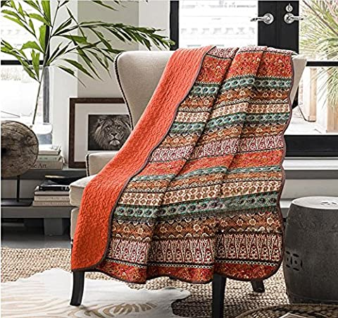 Unimall Reversible Patchwork Cotton Quilted Blanket Throws for Settees Boho Chic Pattern Bed Throw Indoor or Outdoor Use,150cmx200cm