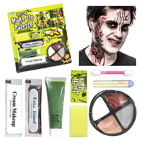 Halloween Make Up Set – perfektes Schmink Set für ausgefallene Halloween-Kostüme – das ideale Zombie Schminkset mit Make-up Palette, Schwamm, Zahnschwärzer, Kunstblut, Creme Make-up und (Halloween Make Zombie Up Kostüme)