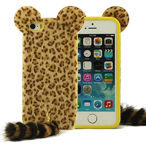 Imité Animal Fourrure iPhone 5 Coque Housse étui Synthetic Fibre Chiffon Matériel Juste Comme Fourrure Animale Réel Skin Cover Case Pour iPhone 5 5S 5G Protecteur Phone Case Jaune